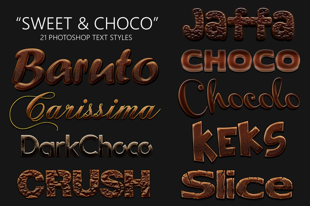 Sweet-and-Choco-21-Photoshop-Styles - 35+ Tasty Food & Drink Photoshop Text Effects