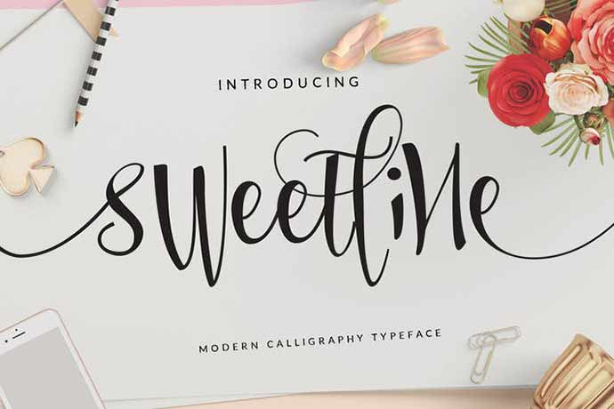 Sweetline - 52+ Wonderful Fonts for Calligraphy Logo Design [year]