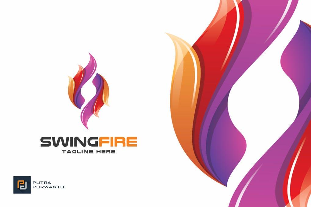 Swing-Fire-Logo-Template - 35+ Glamor 3D Flat Logo Design Templates