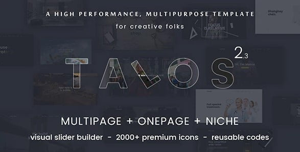 Talos - 35+ Awesome One Page Creative Blogger Template [year]