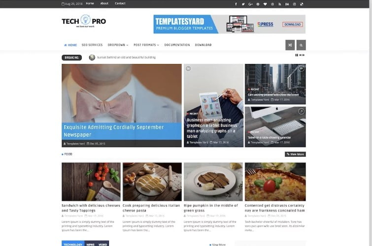 Tech-Pro - 60+ Best Free Responsive News Blogger Templates [year]