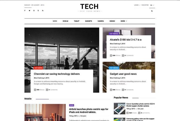 TechNews - 42+ Best Free News Website Templates [year]