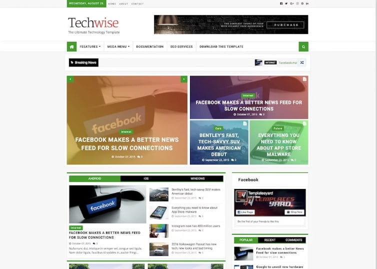 Techwise - 60+ Best Free Responsive News Blogger Templates [year]