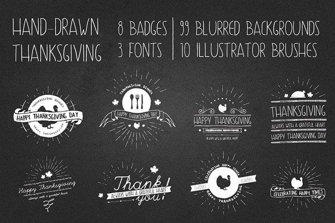 Thanksgiving-Hand-Drawn-Logo-Kit - 30+ Amazing Hand Drawn Badge Logo Design Templates [year]