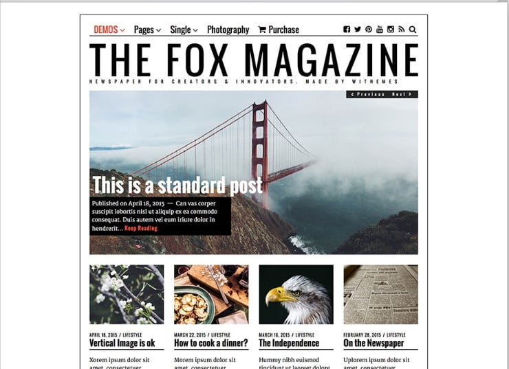 The-Fox - Top 60+ News Magazine WordPress Themes [year]
