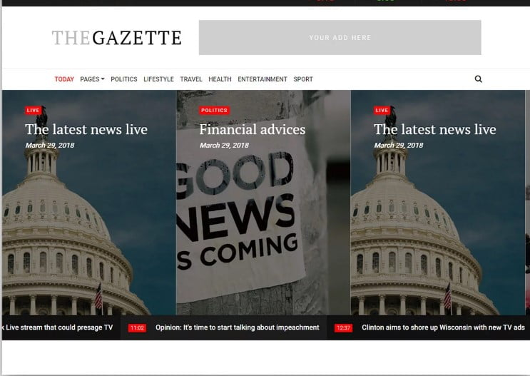 TheGazette - 42+ Best Free News Website Templates [year]