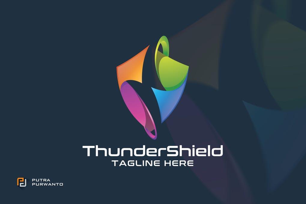 Thunder-Shield-Logo-Template - 35+ Glamor 3D Flat Logo Design Templates