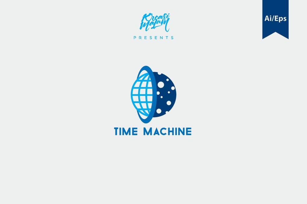 Time-Machine-Logo-Template - 35+ Glamor 3D Flat Logo Design Templates