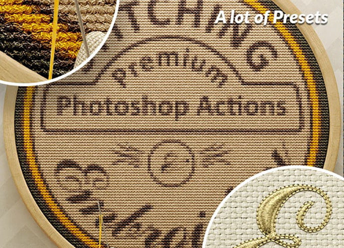 Titan-Action-Pack - 30+ Embroidery Effect Photoshop Actions & Brushes