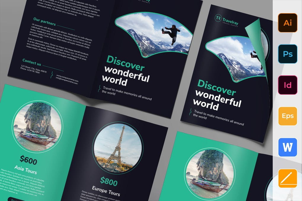 Tours-And-Travels-Brochure-Bifold - 35 + Calm PSD & InDesign Travel Brochure Templates [year]