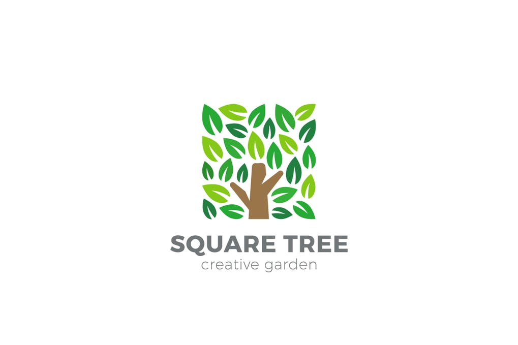Tree-Garden-Square-shape - 60+ Strong Tree Logo Design Templates [year]