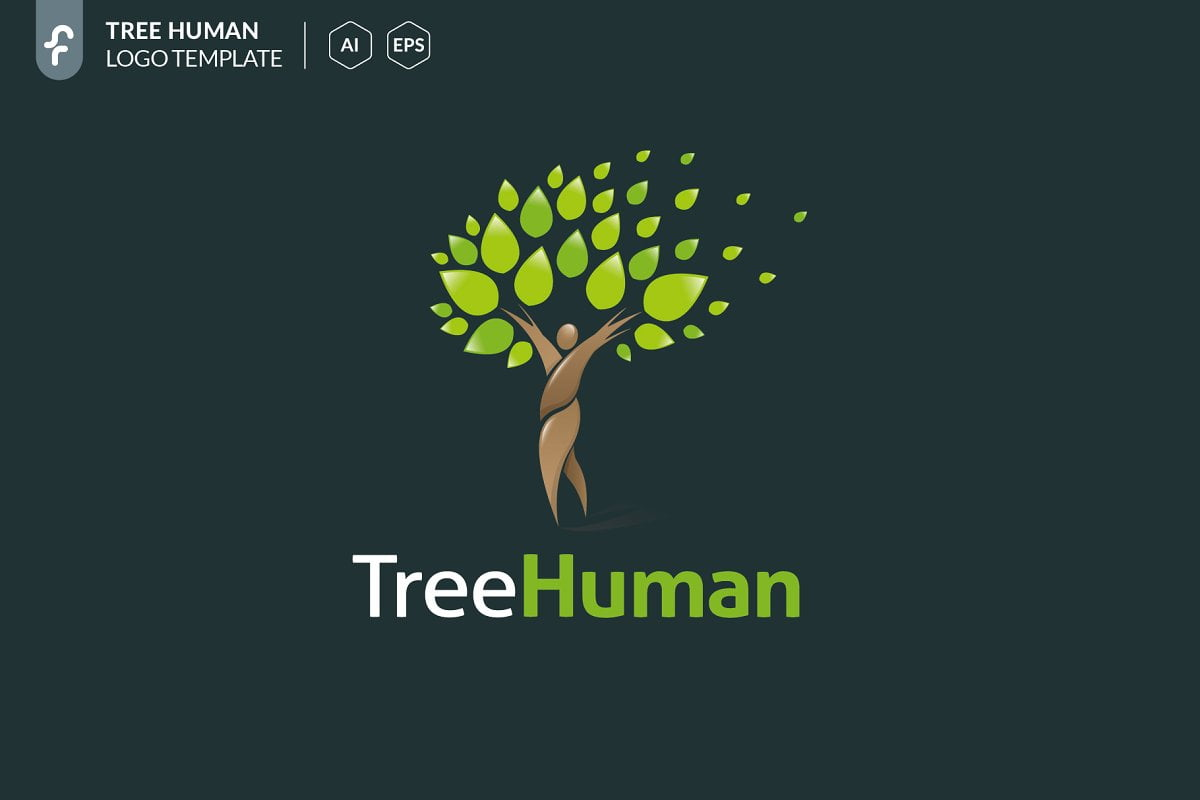 Tree-Human - 60+ Strong Tree Logo Design Templates [year]