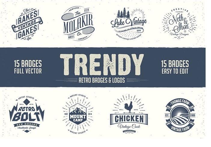 Trendy-Retro-Badges-And-Logos - 30+ Amazing Hand Drawn Badge Logo Design Templates [year]