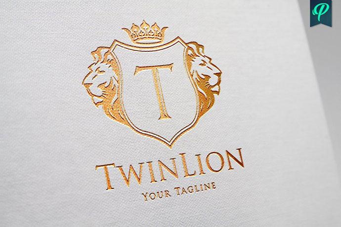 TwinLion-Heraldry-Logo-Template - 35+ Amazing Heraldry Logo Design Templates [year]