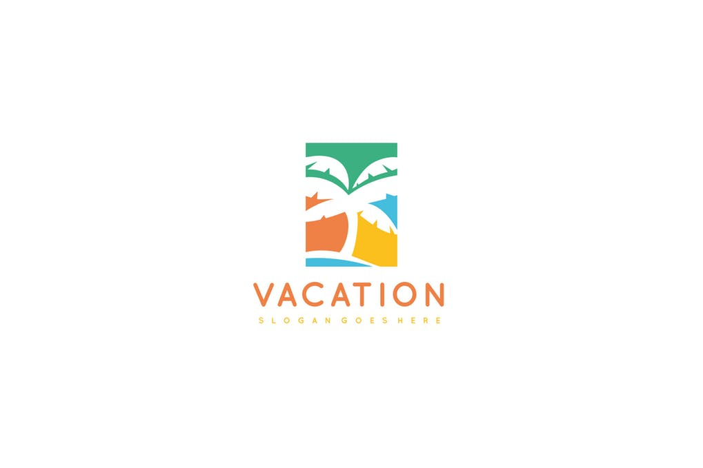 Vacation-Palm - 60+ Strong Tree Logo Design Templates [year]