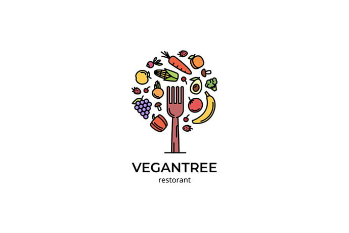 Vegan-Tree - 30+ Stunning Fruit & Vegetable Logo Design Templates