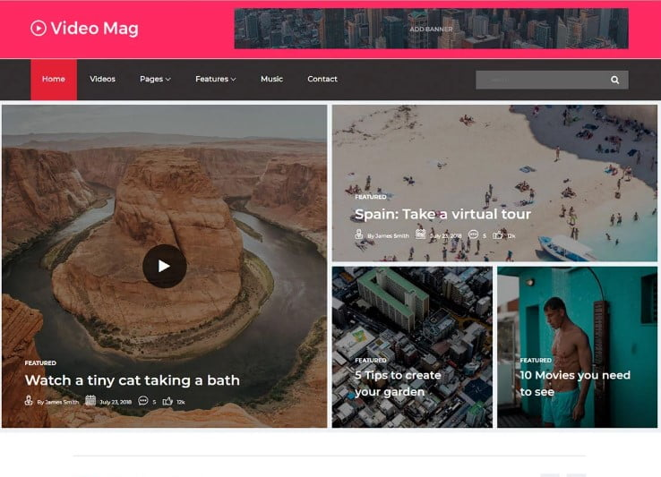 VideoMag - 42+ Best Free News Website Templates [year]