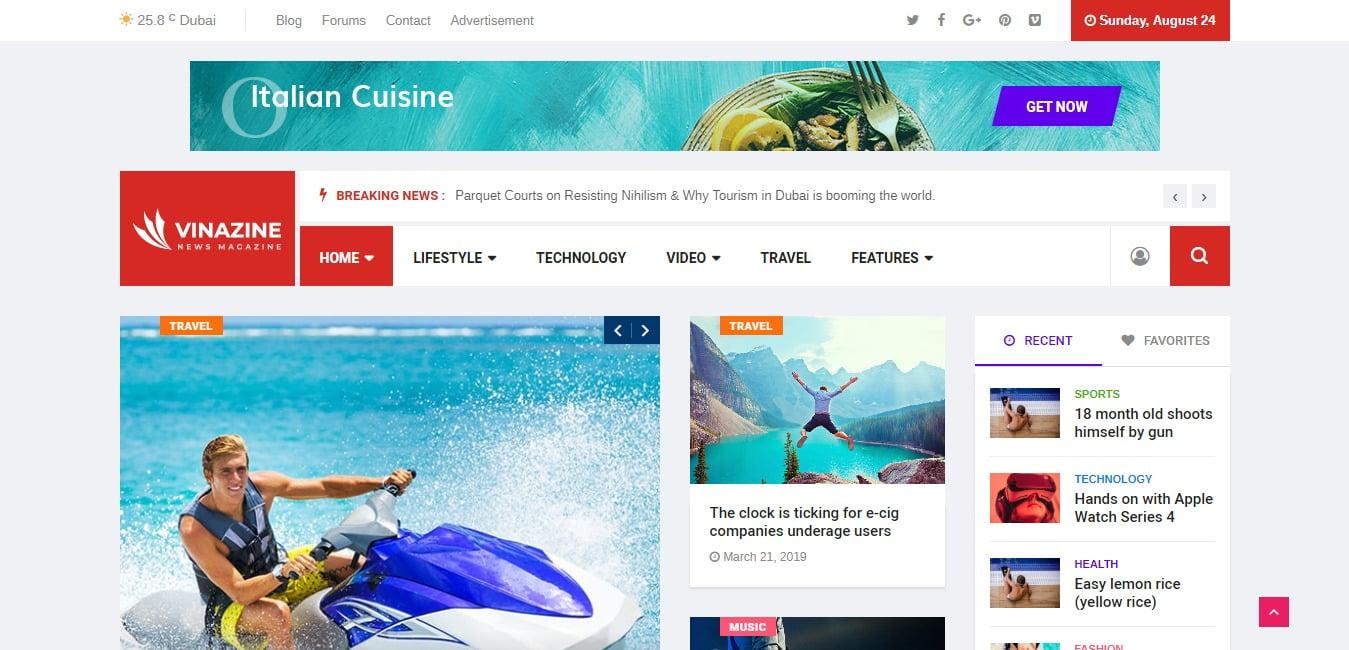 Vinazine - 45+ Responsive News Website Templates [year]