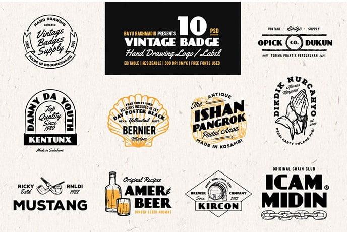 Vintage-Badges-Drawing - 30+ Amazing Hand Drawn Badge Logo Design Templates [year]