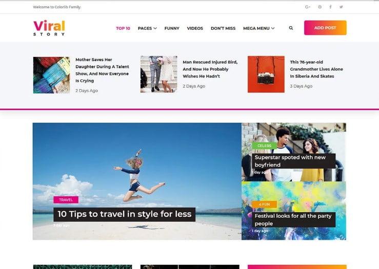 Viral - 42+ Best Free News Website Templates [year]