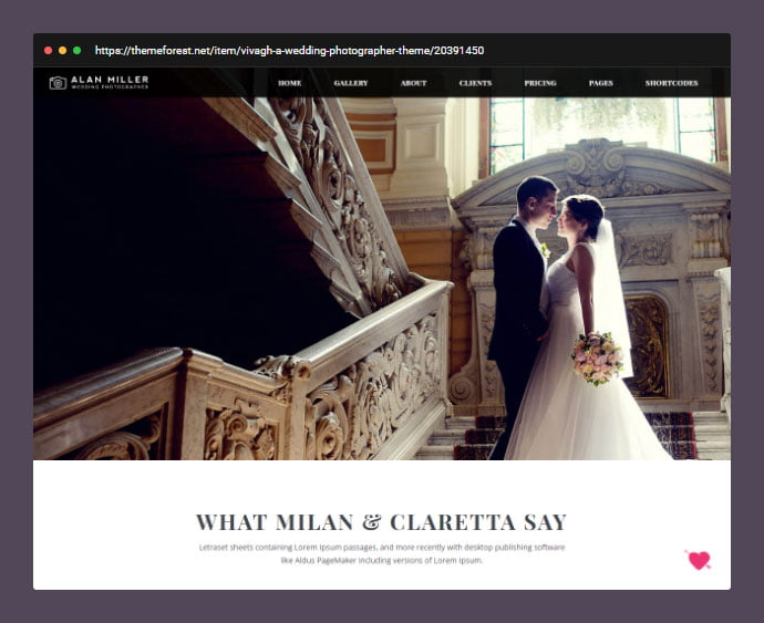 Vivagh-Photographer-Wedding-Photographer-Theme - 30+ Wedding Photography WordPress Themes [year]