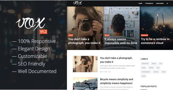Vox - 35+ Best Stunning Blogger One Page Template [year]