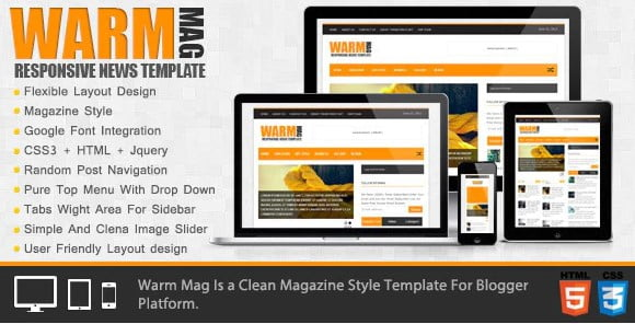 WarmMag - 35+ Best Stunning Blogger One Page Template [year]