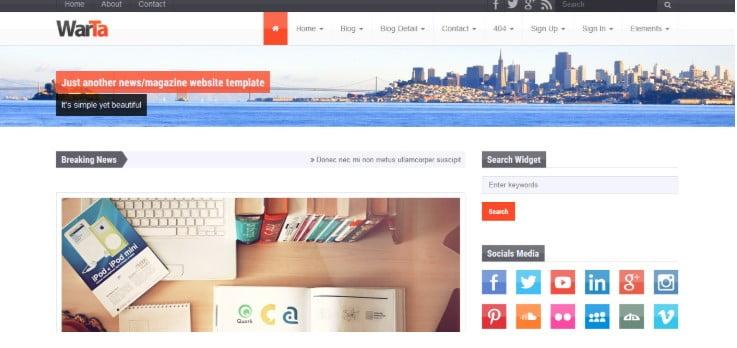 Warta - 45+ Responsive News Website Templates [year]