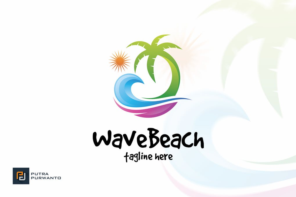 Wave-Beach - 60+ Strong Tree Logo Design Templates [year]