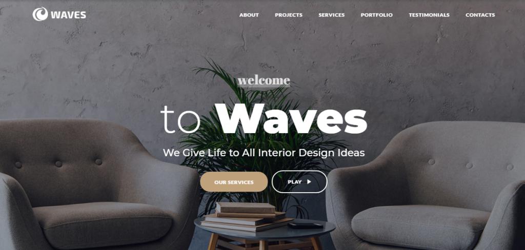 Waves-1 - 60+ HTML Interior & Furniture Website Templates [year]