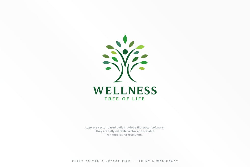Wellness-Tree - 60+ Strong Tree Logo Design Templates [year]