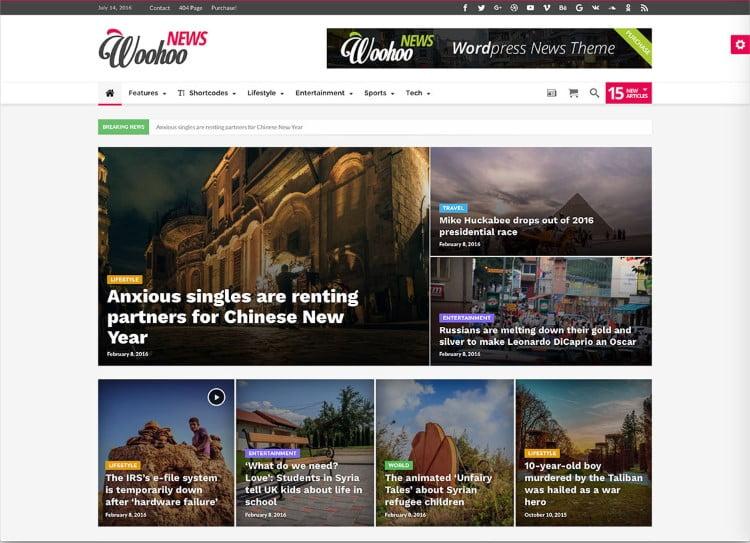 Woohoo - Top 60+ News Magazine WordPress Themes [year]