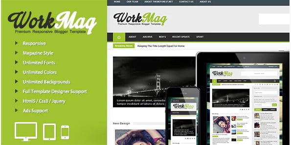 Workmag - 35+ Best Stunning Blogger One Page Template [year]