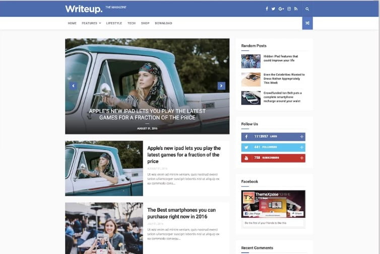 WriteUp - 60+ Best Free Responsive News Blogger Templates [year]