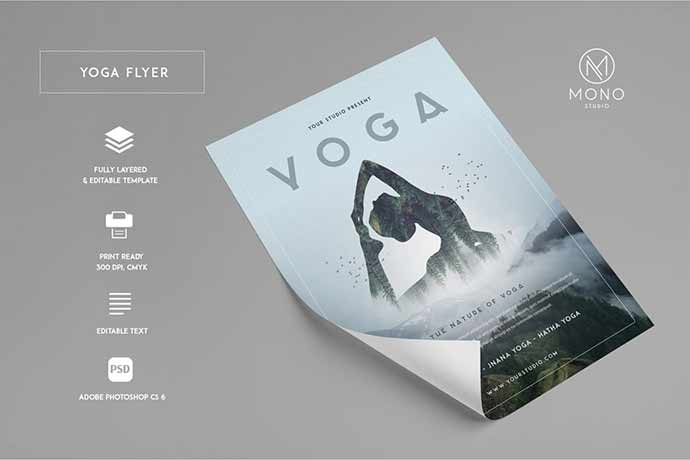 Yoga-Flyer-1 - 35+ Attractive Double Exposure PSD Flyer Design [year]