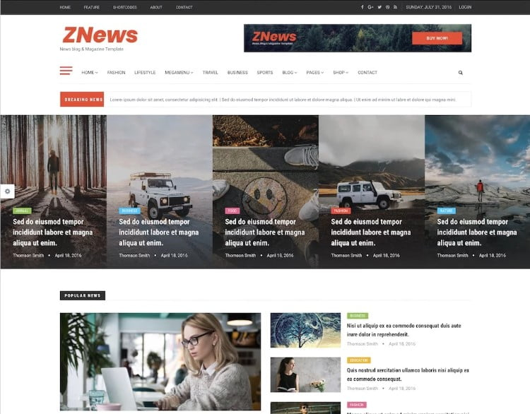 ZNews-2 - 45+ Responsive News Website Templates [year]