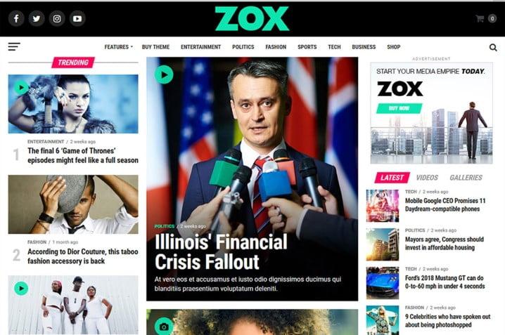 Zox-News - Top 60+ News Magazine WordPress Themes [year]