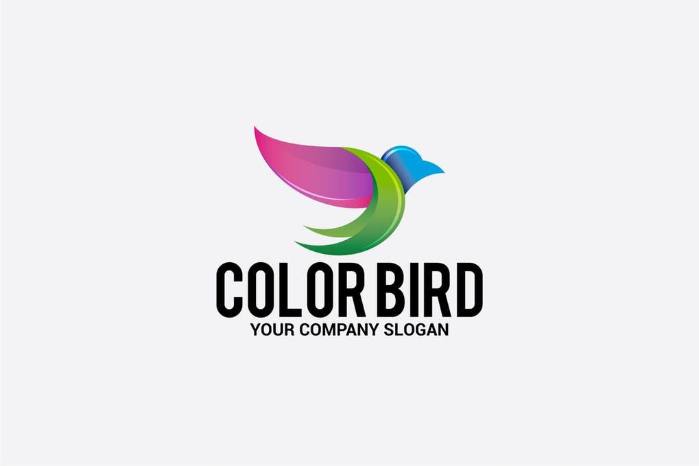 color-bird - 35+ Glamor 3D Flat Logo Design Templates