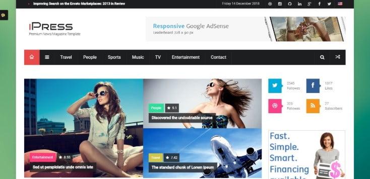 iPress - 45+ Responsive News Website Templates [year]