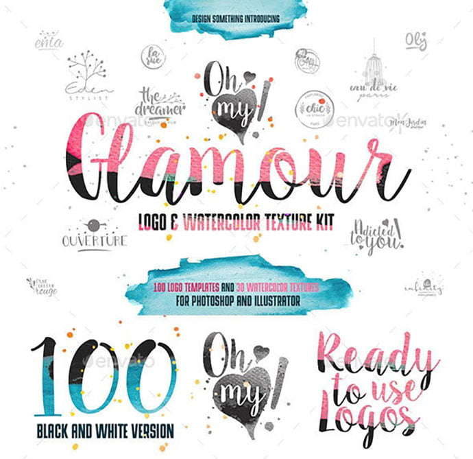 100-Glamour - 35+ Lovely Watercolor Logo Designs [year]