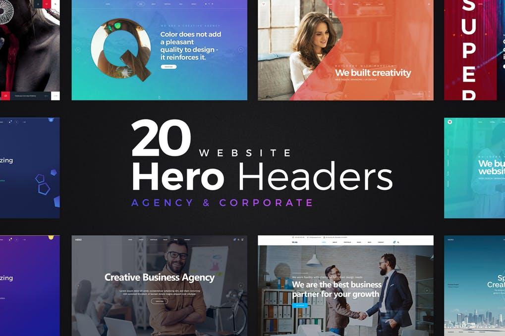 20-Website-Hero-Headers-1 - 31+ Amazing Hero Image PSD Illustration Templates [year]