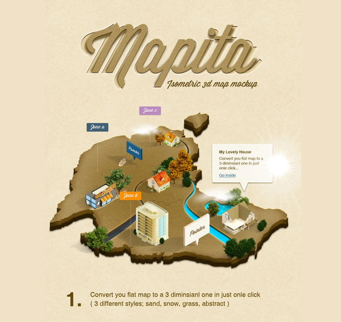 3D-Isometric-Map-Mockup - 41+ Necessary Free Photoshop Plugins & Actions For Designer [year]