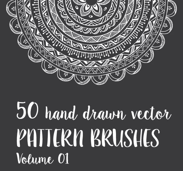 50-Hand-Drawn-Vector-Pattern-Brushes-Vol.-01 - 36+ Amazing Free Hand Drawn Logo Designs For You [year]