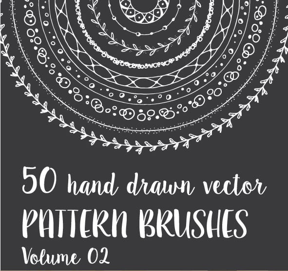 50-Hand-Drawn-Vector-Pattern-Brushes-Vol.-02 - 36+ Amazing Free Hand Drawn Logo Designs For You [year]