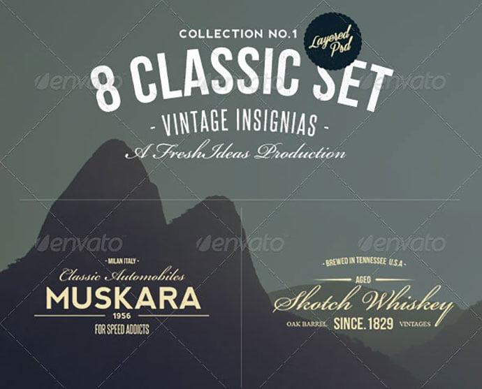 8-Retro-Insignias - 31+ Awesome Watermark Photographer Logo Templates [year]