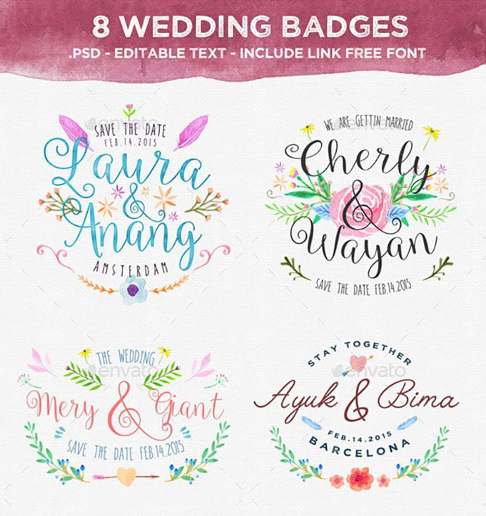 8-Wedding-Badges - 35+ Lovely Watercolor Logo Designs [year]