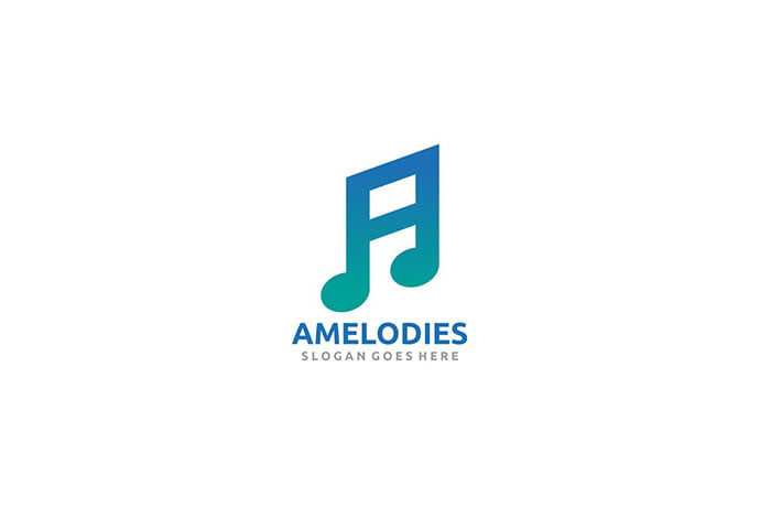 A-Letter-Music-Logo - 50+ BEST Single Letter Business Logo Template [year]