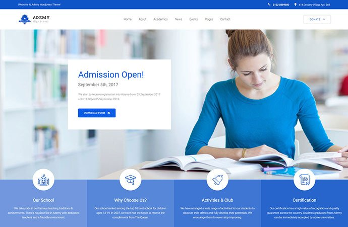 Ademy - 30+ BEST Blue WordPress Themes [year]
