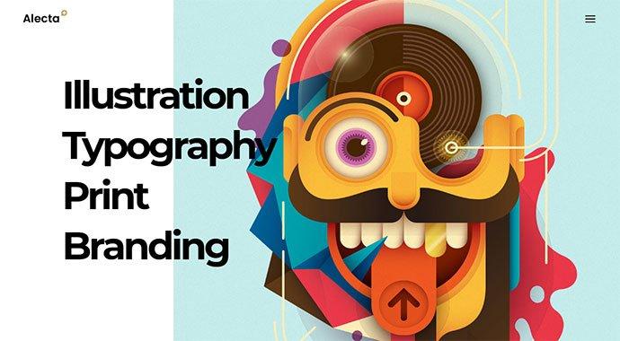 Alecta - 31+ Impressive Big Fonts & Bright Colors WordPress Themes [year]