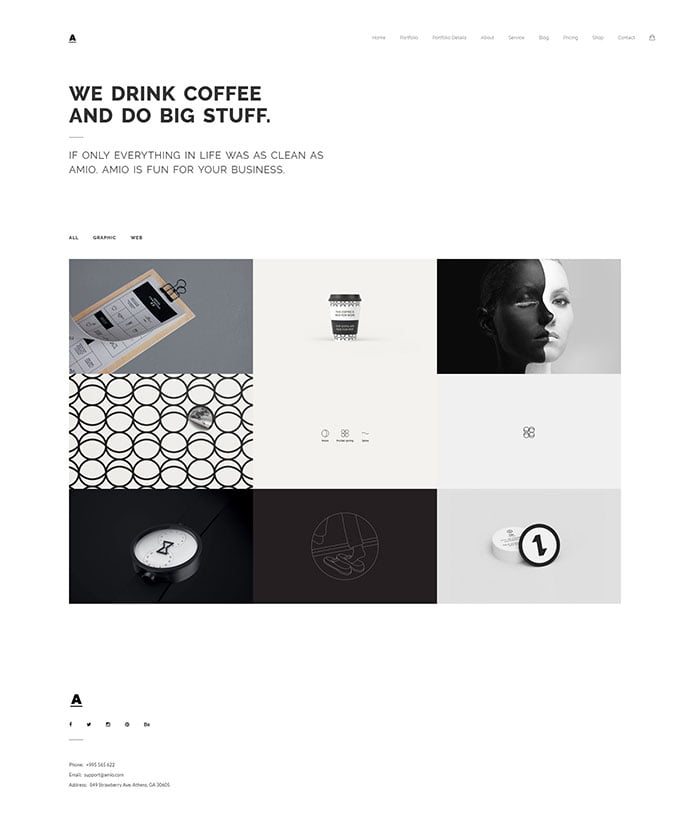 Amio - 30+ Stunning Typography Portfolio WordPress Themes